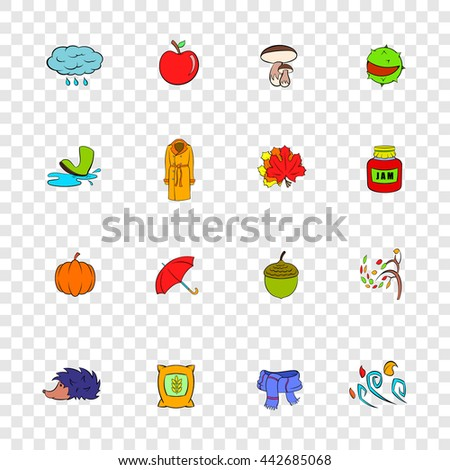 Autumn icons set in pop-art style with transparency for design - stock vector