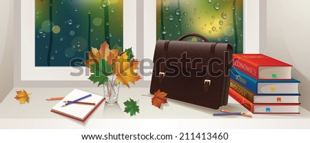 Autumn illustration. Illustration of a briefcase, a bouquet of leaves, pencils, notebooks and books. Misted glass. Items on the windowsill.