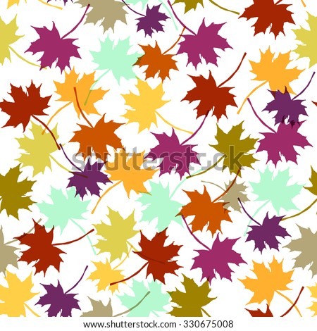 Autumn imprint leaves pattern background. Colored art vector autumn leaves pattern. Fabric texture. Beautiful seamless texture background imprint. Bright autumn colors.