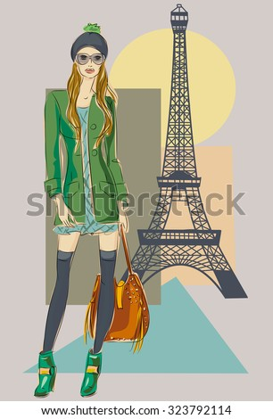 Autumn in Paris. Fashion girl near Eiffel Tower hand drawn illustration Background with model - stock vector
