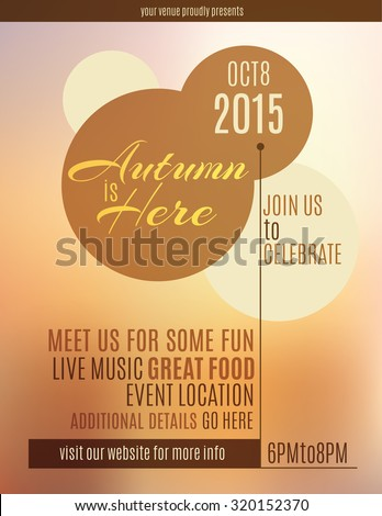 Autumn is Here event flyer - stock vector