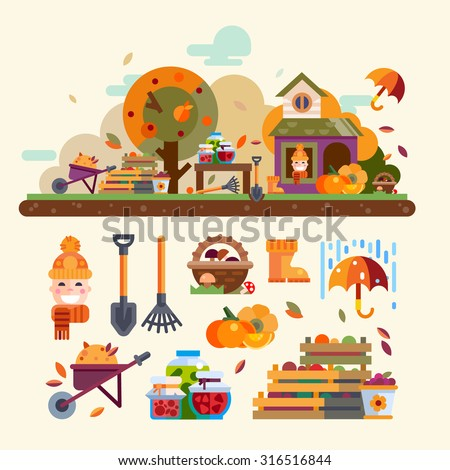 Autumn landscape: harvest, house, tree with apples, pumpkin, rain and umbrella. Objects and tools for garden: basket of mushrooms, boxes of vegetables and fruit, rake, shovel. Vector flat illustration - stock vector