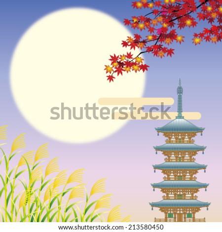 Autumn landscape in Asia - stock vector