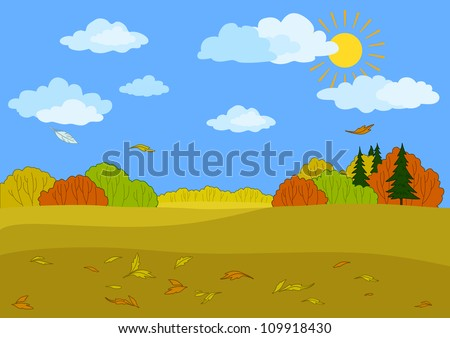 Autumn landscape: sunny blue sky with white clouds, forest and the falling leaves. Vector illustration - stock vector