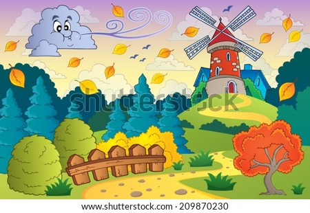 Autumn landscape windmill and cloud - eps10 vector illustration. - stock vector