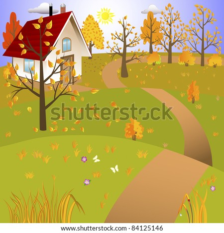 Autumn landscape with house and road. Vector illustration.