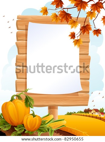 Autumn landscape with the wooden sing - stock vector