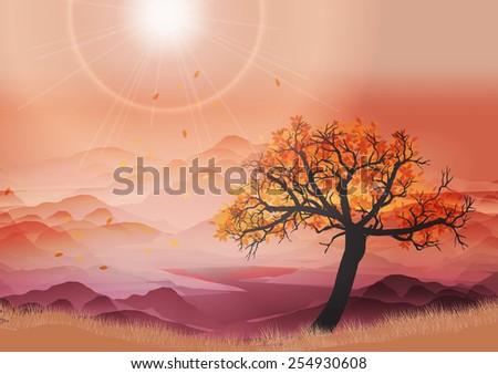 Autumn Landscape with Tree - Vector Illustration - stock vector