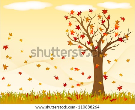 Autumn landscape with wind and leaves - stock vector
