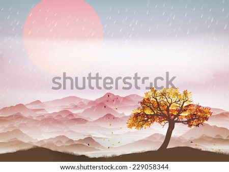 Autumn landscape with wind and leaves - Vector Illustration - stock vector