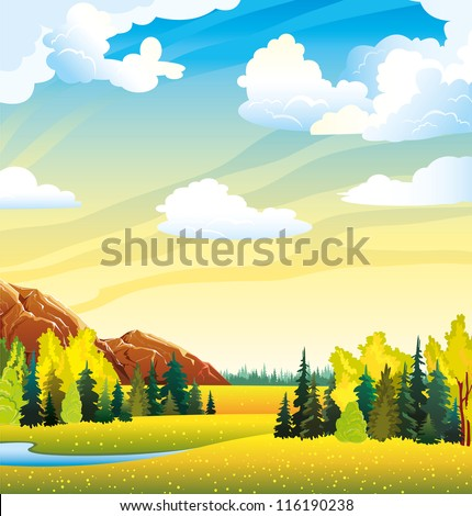 Autumn landscape with yellow meadow, forest, mountain and lake on a cloudy sky - stock vector