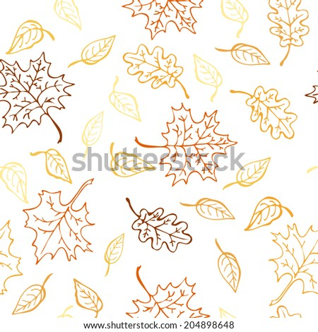Autumn leaf seamless pattern, yellow and orange color.  Vector illustration, EPS 10. - stock vector