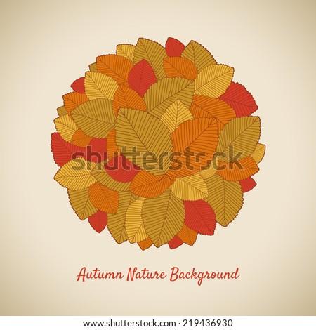 Autumn Leafs round - stock vector