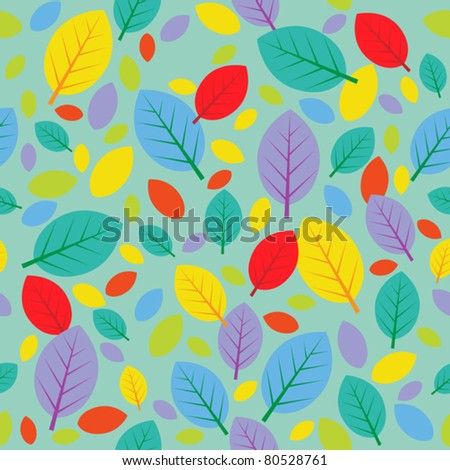 Autumn leafs seamless background - stock vector