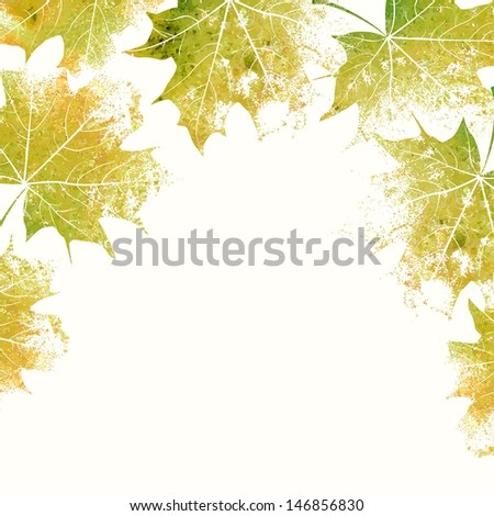 Autumn leaves background. Eco design template. Summer illustration with maple leaves. - stock vector