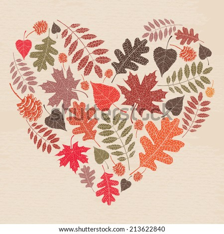 Autumn leaves card. Fall autumn leaves in the shape of heart. Nature symbol vector collection.  - stock vector