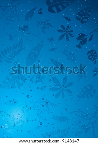Autumn leaves caught in icy water ideal as a background - stock vector
