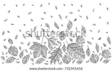 Autumn Leaves Happy Thanksgiving Vector Artwork Black And White Coloring Book Pages