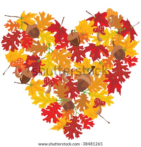 Autumn Leaves heart with toadstools and acorns.