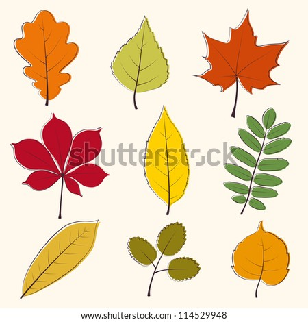 Autumn leaves icon - stock vector