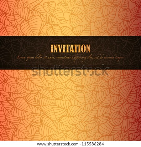 Autumn leaves invitation made of fancy paper, vector eps8 illustration - stock vector
