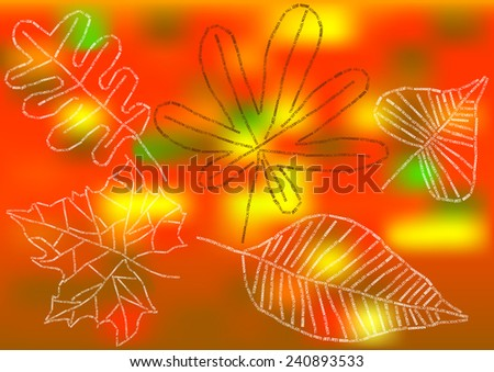 autumn leaves of letters on bokeh background