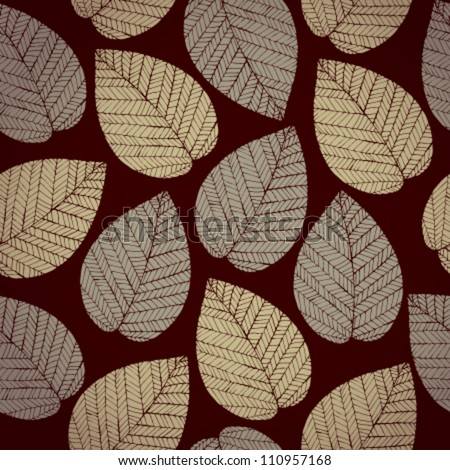Autumn leaves on dark brown background. Autumn seamless pattern. Abstract delicate leaves texture
