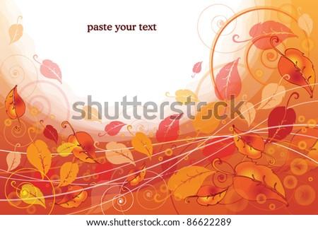 Autumn leaves orange card - stock vector