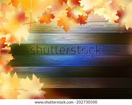 Autumn Leaves over wooden background With copy space. plus EPS10 vector file