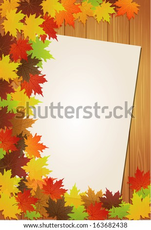 Autumn leaves over wooden background with paper - stock vector