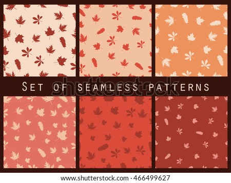 Autumn leaves seamless pattern set. Vector illustration.