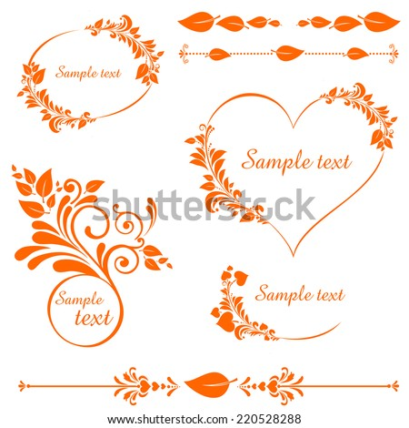 autumn leaves set. Collection of design elements vintage set isolated on White background. Vector illustration  - stock vector