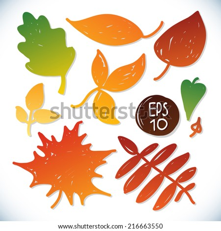 Autumn leaves, vector set. Doodle style - stock vector
