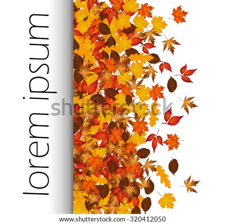 Autumn leaves with text  - stock vector