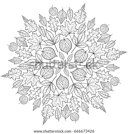 Autumn Mandala With Leaves On White Background Coloring Page For Children And Adult