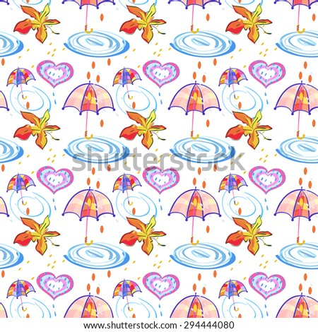 Autumn Maple leaf, Umbrella, Hearts and Rain Drops. Seamless Pattern for wrapping paper, textiles or design websites - stock vector
