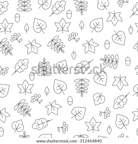 Autumn monochrome seamless pattern with leaves.Vector illustration. Background for your design. - stock vector