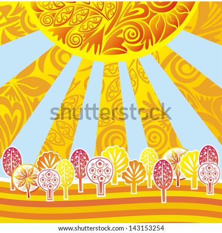 Autumn nature pattern background design element sun sky pattern leaf tree vector illustration - stock vector