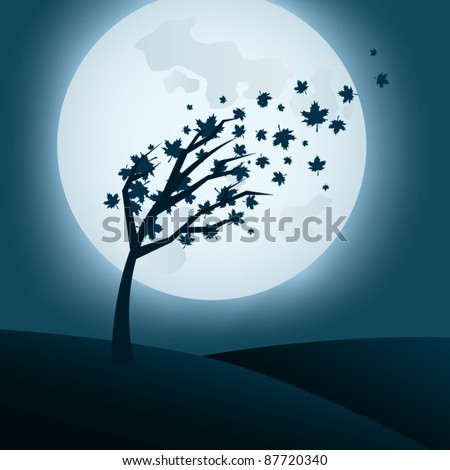 Autumn night background with falling leaves and full moon - stock vector