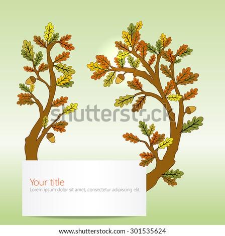 Autumn Oak leaves banner - stock vector