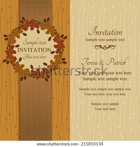 Autumn or summer invitation, oak round frame with acorns, brown and beige - stock vector