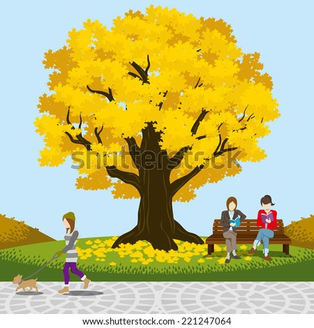Autumn park big tree -EPS10 - stock vector