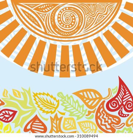 Autumn pattern background leaves vector illustration - stock vector