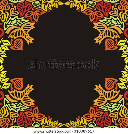 Autumn pattern background leaves vector illustration