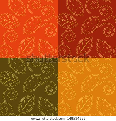 autumn pattern of leaves and scrolls