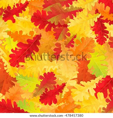 Autumn pattern with colorful oak leaves.