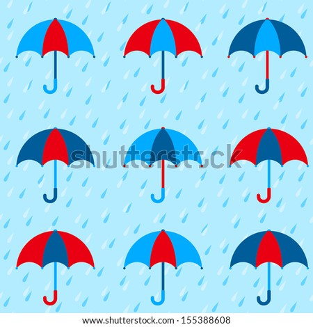 Autumn pattern with colorful umbrellas and rain. Seamless vector background.