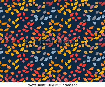 Autumn pattern with leaves. Leaf fall. Multicolored. White background. Vector illustration.