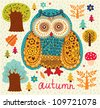Autumn pattern with owl, leaves and trees - stock vector