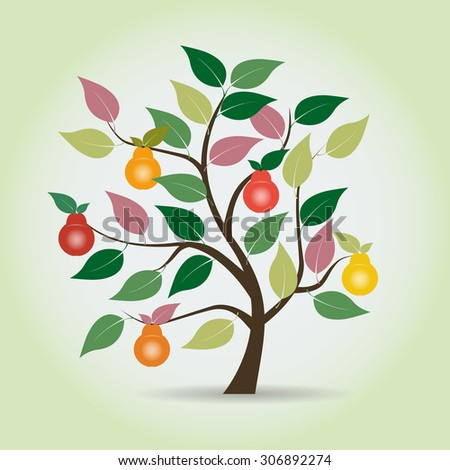 Autumn pear tree in fantasy style. Graphical element. Vector illustration  - stock vector